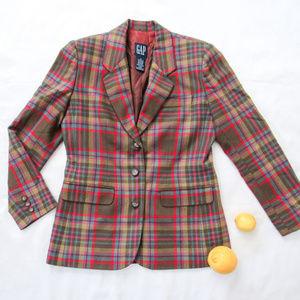 GAP Multicolor Preppy Plaid Blazer Jacket SZ S